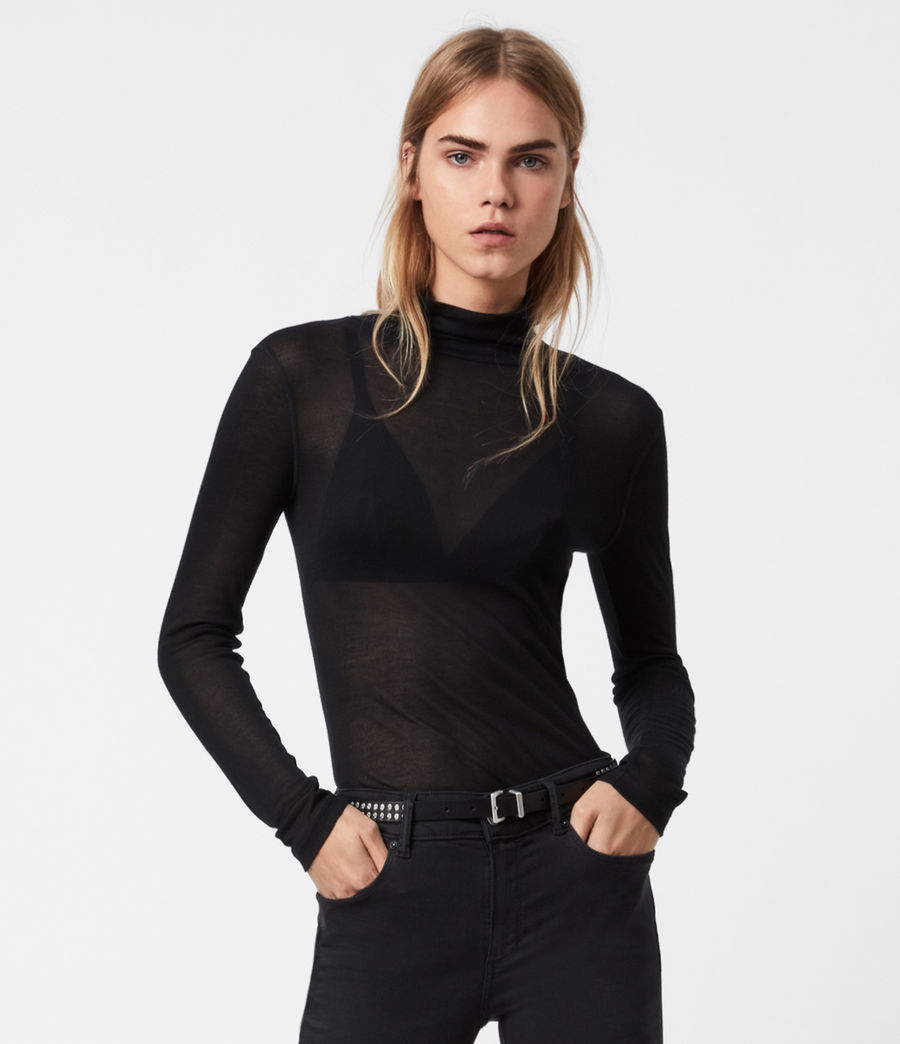 Women's Francesco Roll Neck Top (black) - Image 1