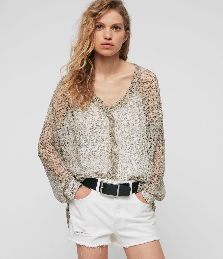 Women's Nina Speckle Top (oyster_white) - Image 1