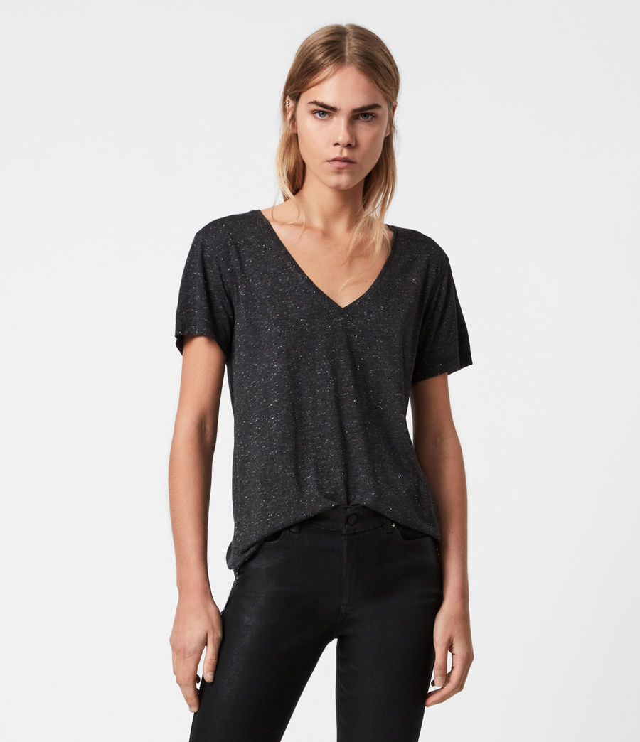 Womens Emelyn Shimmer T-Shirt (charcoal_grey) - Image 1
