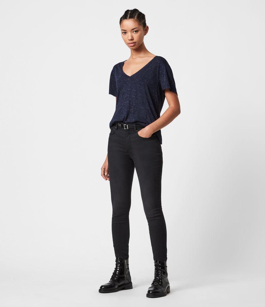 Womens Emelyn Shimmer T-Shirt (midnight_blue) - Image 4