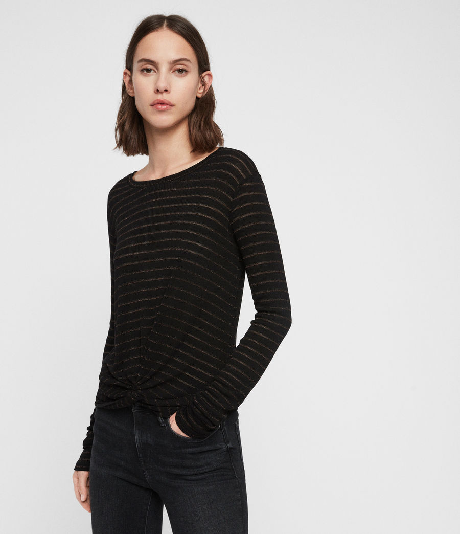 Women's Carme Shimmer Stripe T-Shirt (copper_black) - Image 1