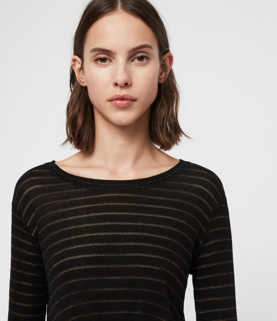 Women's Carme Shimmer Stripe T-Shirt (copper_black) - Image 2
