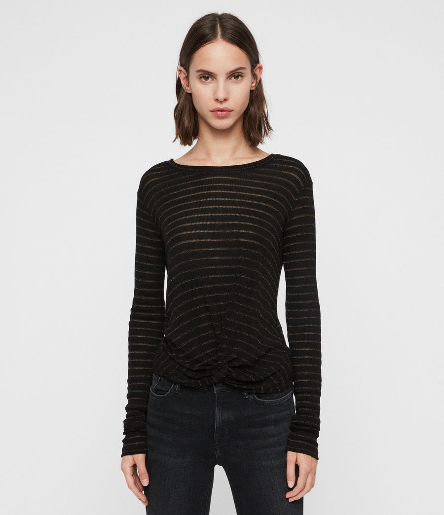 Women's Carme Shimmer Stripe T-Shirt (copper_black) - Image 4