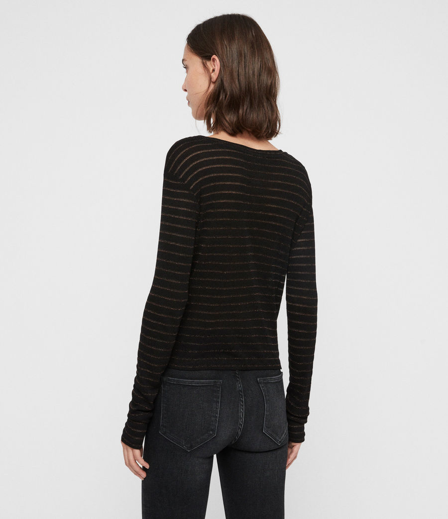 Women's Carme Shimmer Stripe T-Shirt (copper_black) - Image 5