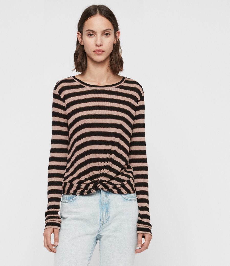 Women's Carme Shimmer Stripe T-Shirt (nude_pink_black) - Image 1