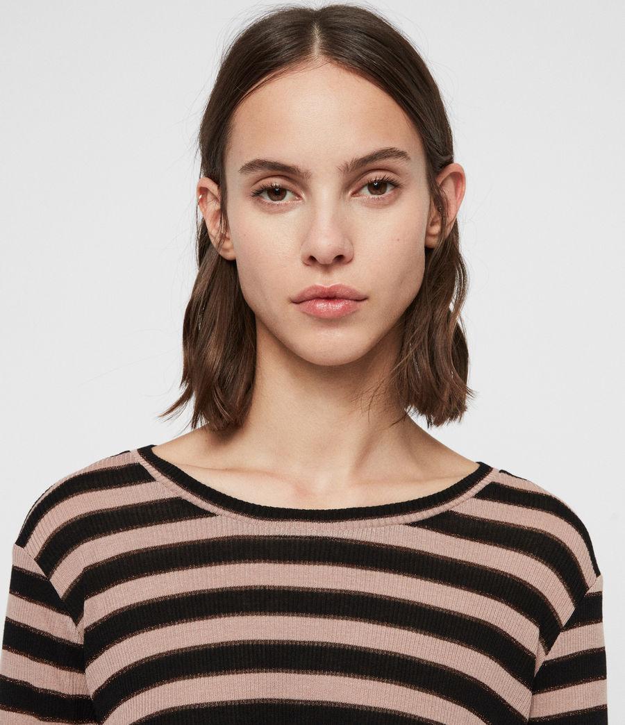 Women's Carme Shimmer Stripe T-Shirt (nude_pink_black) - Image 2