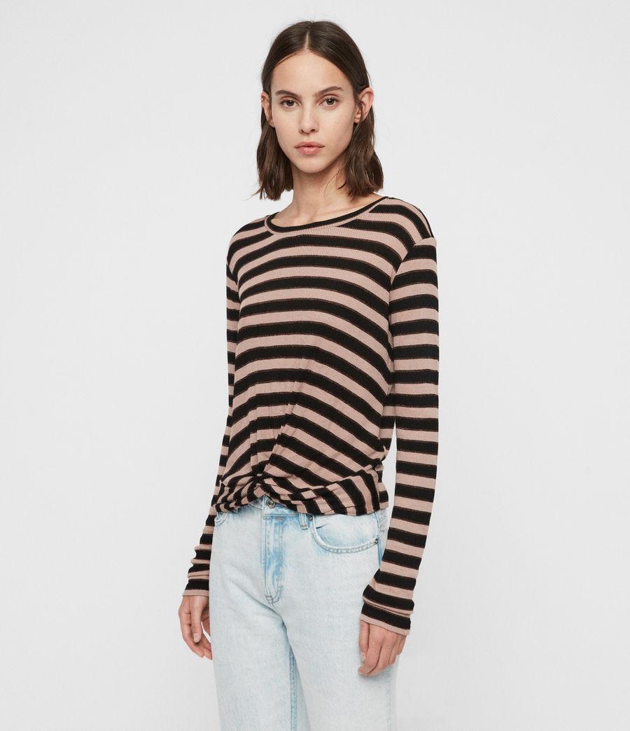 Mujer Carme Shimmer Stripe T-Shirt (nude_pink_black) - Image 4