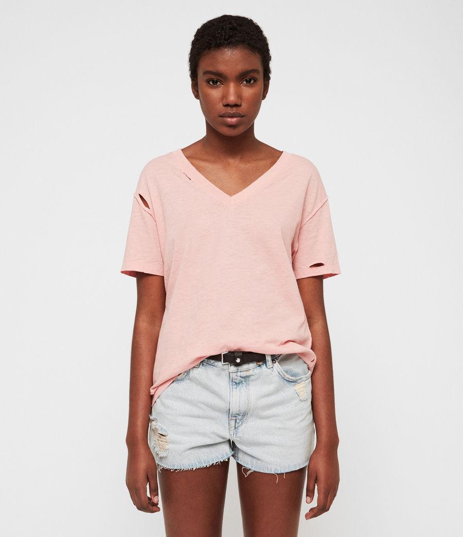 Damen Dime V-Ausschnitt T-Shirt (cami_pink) - Image 1