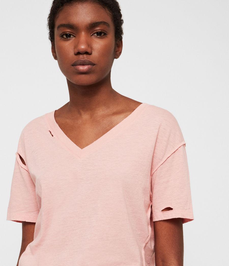 Damen Dime V-Ausschnitt T-Shirt (cami_pink) - Image 3
