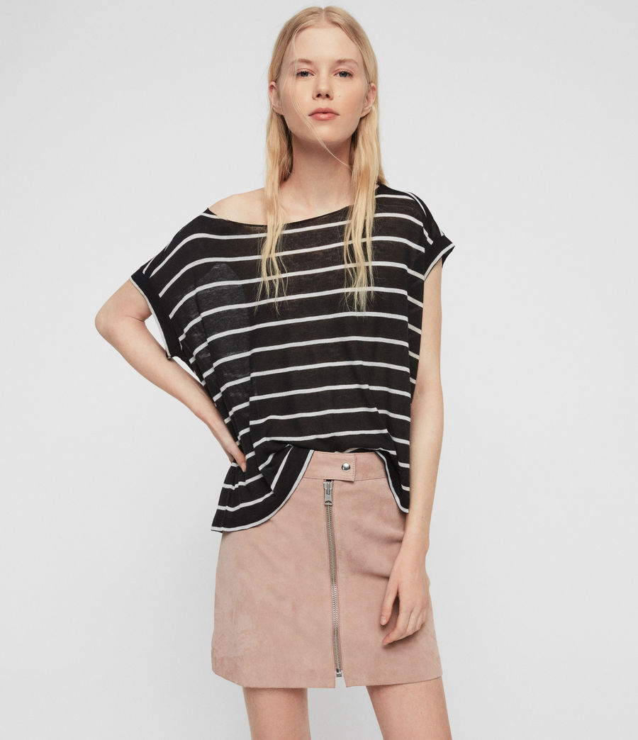 Womens Pina Stripe T-Shirt (black_chalk_white) - Image 1