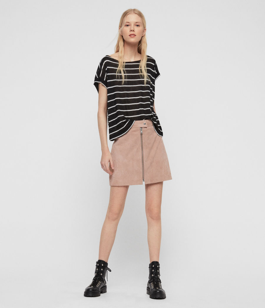 Womens Pina Stripe T-Shirt (black_chalk_white) - Image 2