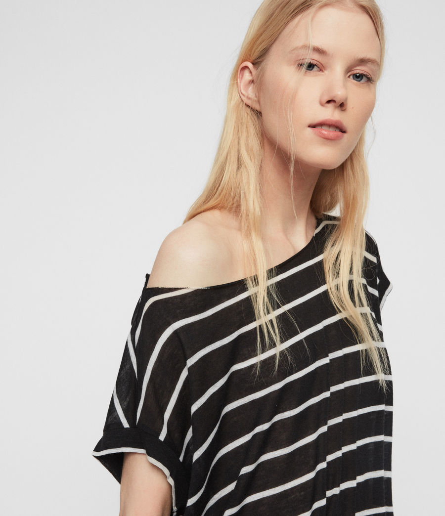 Womens Pina Stripe T-Shirt (black_chalk_white) - Image 3