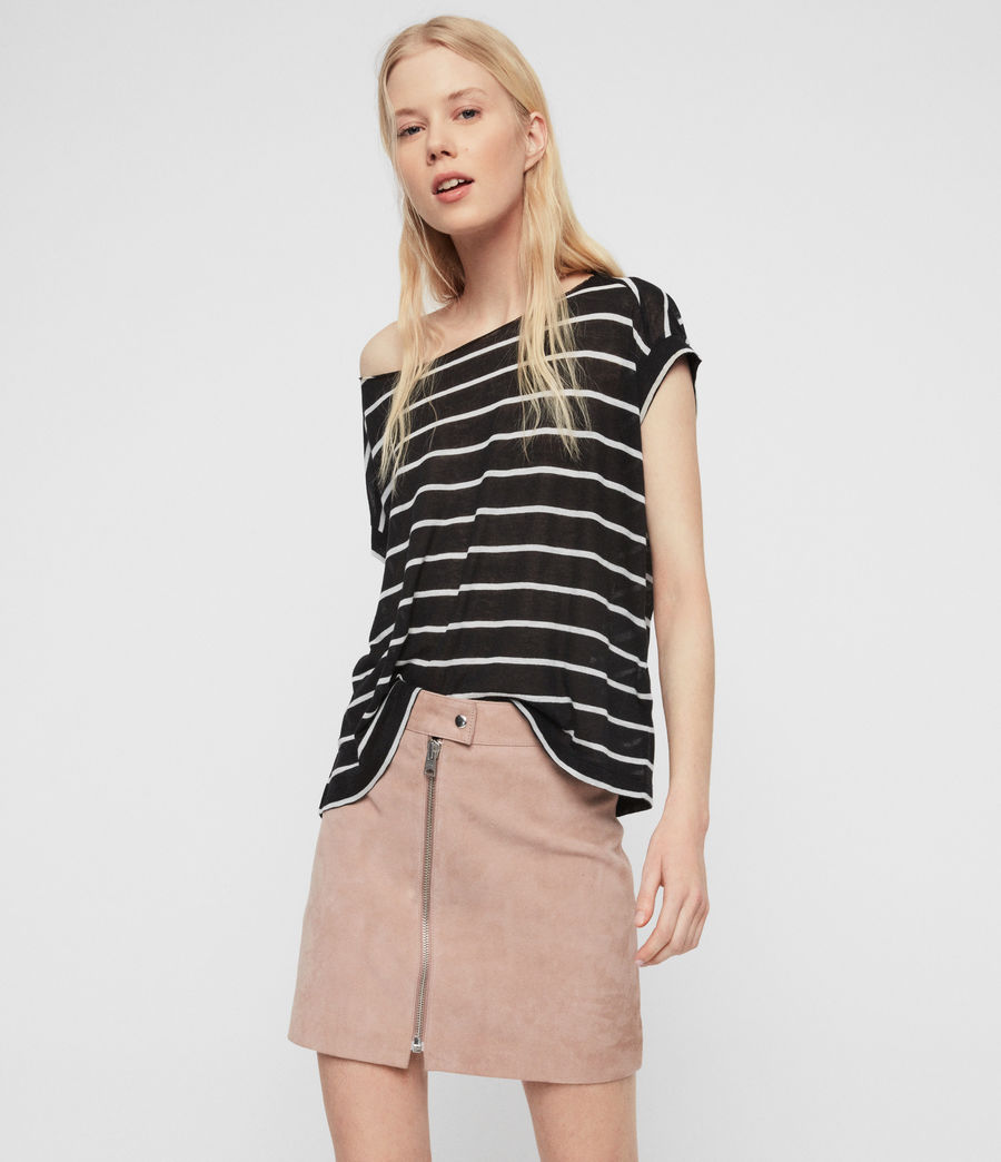 Womens Pina Stripe T-Shirt (black_chalk_white) - Image 4