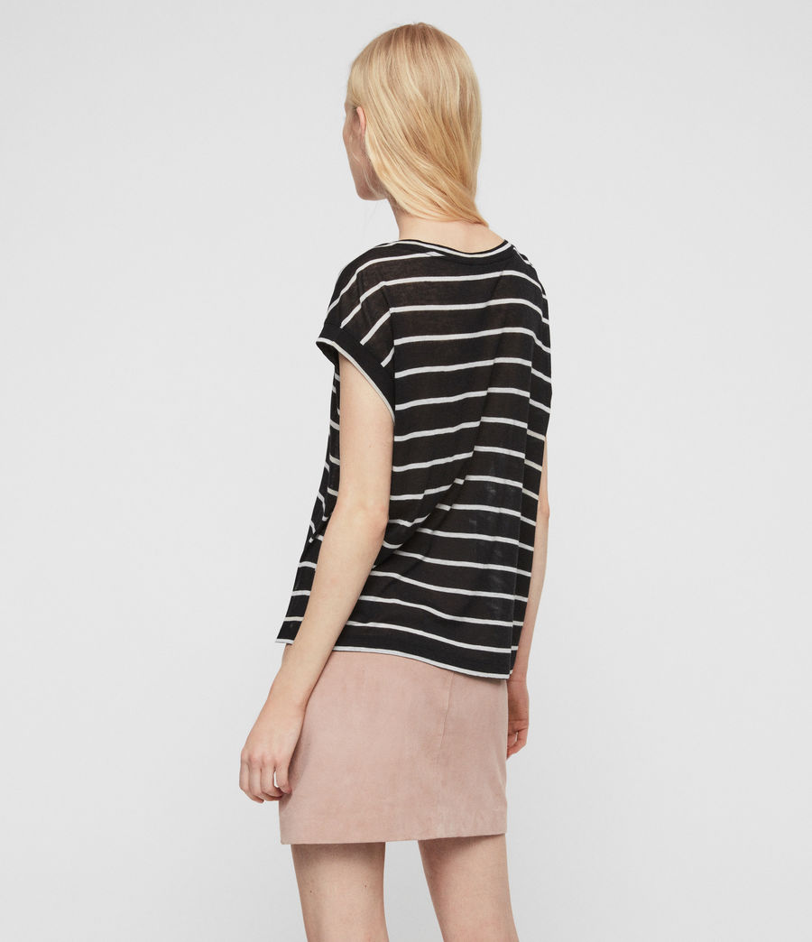 Womens Pina Stripe T-Shirt (black_chalk_white) - Image 5
