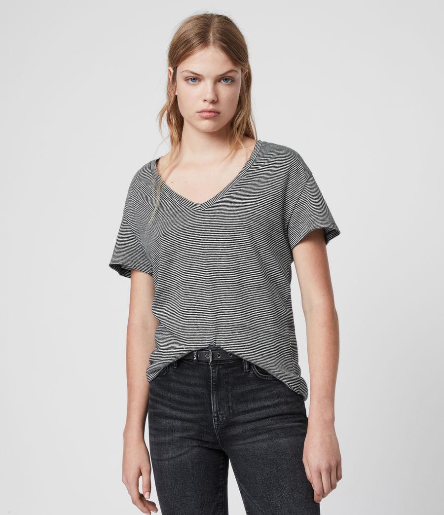 Mujer Mia Linen Blend Stripe T-Shirte (black_chalk_white) - Image 1