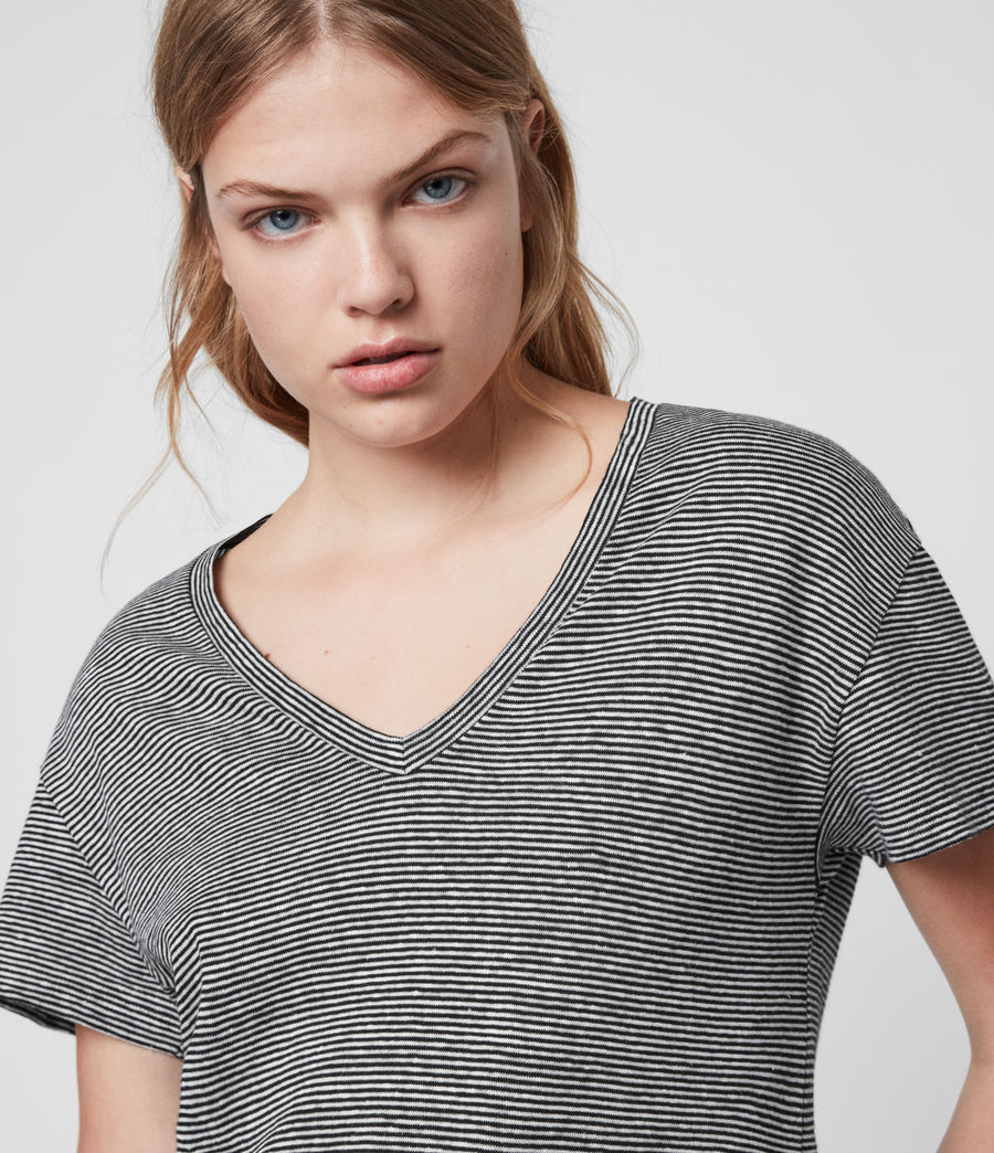Mujer Mia Linen Blend Stripe T-Shirte (black_chalk_white) - Image 2