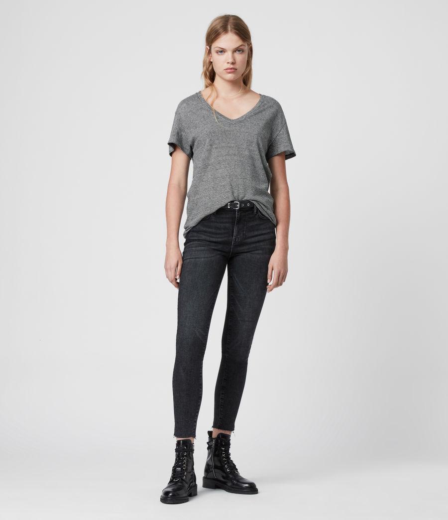 Mujer Mia Linen Blend Stripe T-Shirte (black_chalk_white) - Image 3
