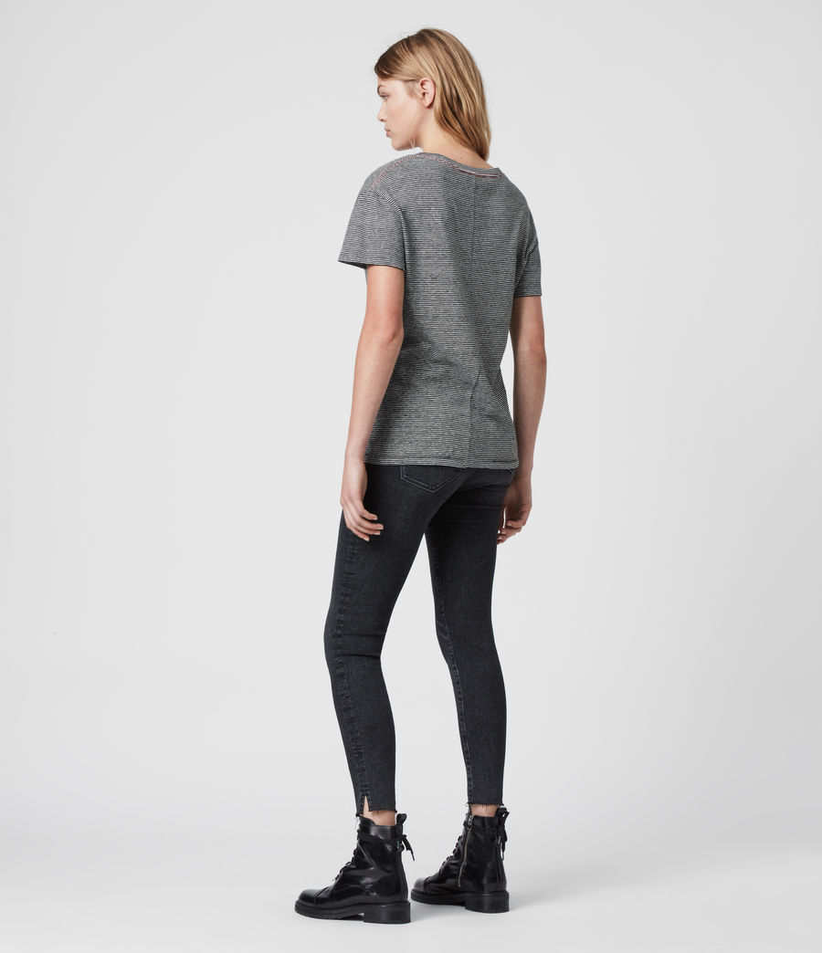 Damen Mia Lin Gestreiftes T-Shirt (black_chalk_white) - Image 4