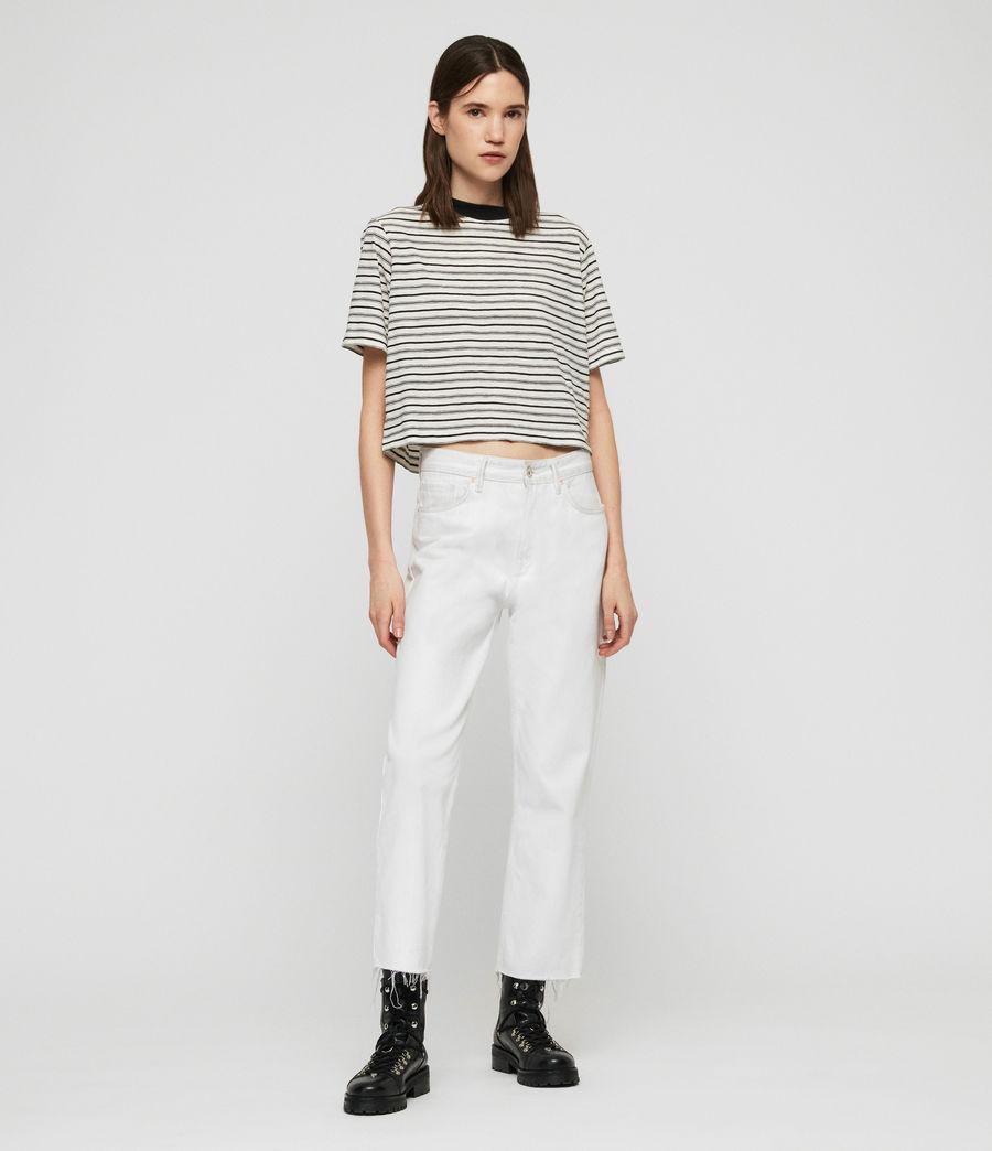 Women's Benno Stripe T-Shirt (ecru_black) - Image 2