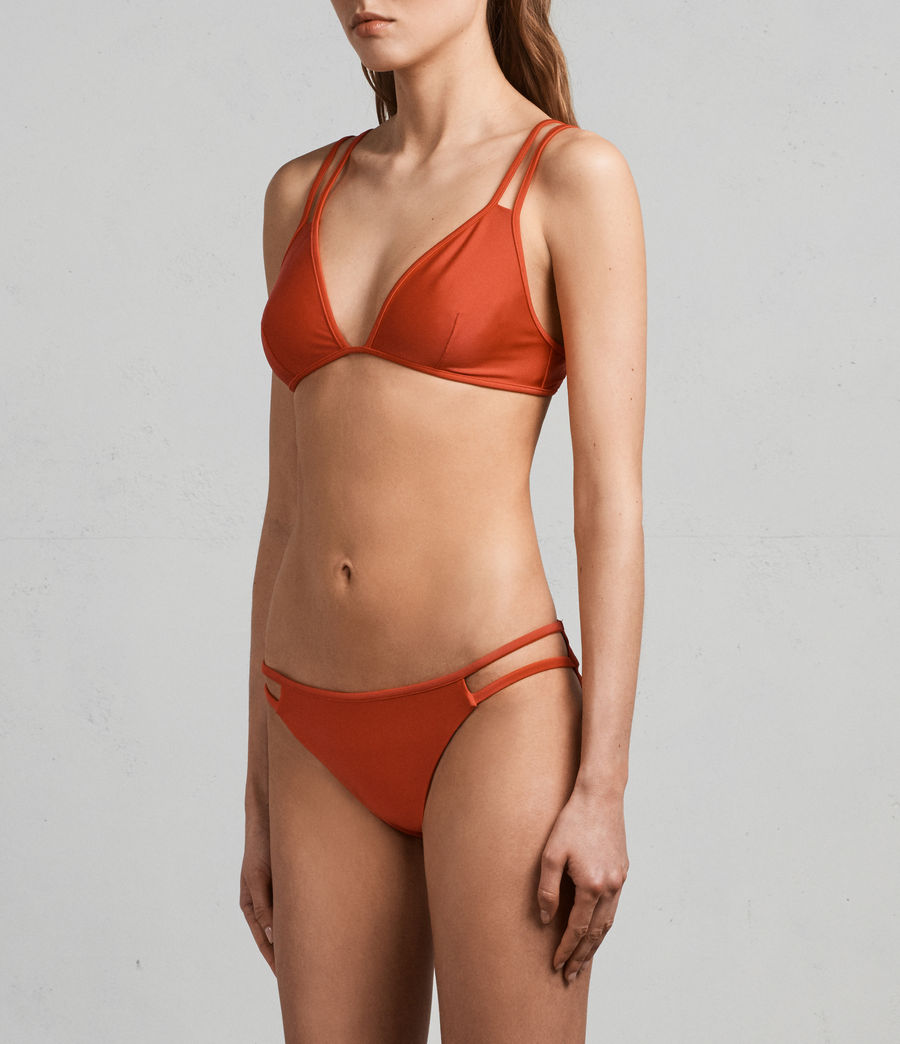 Women's Cara Metallic Bikini Top (poppy_red) - Image 2