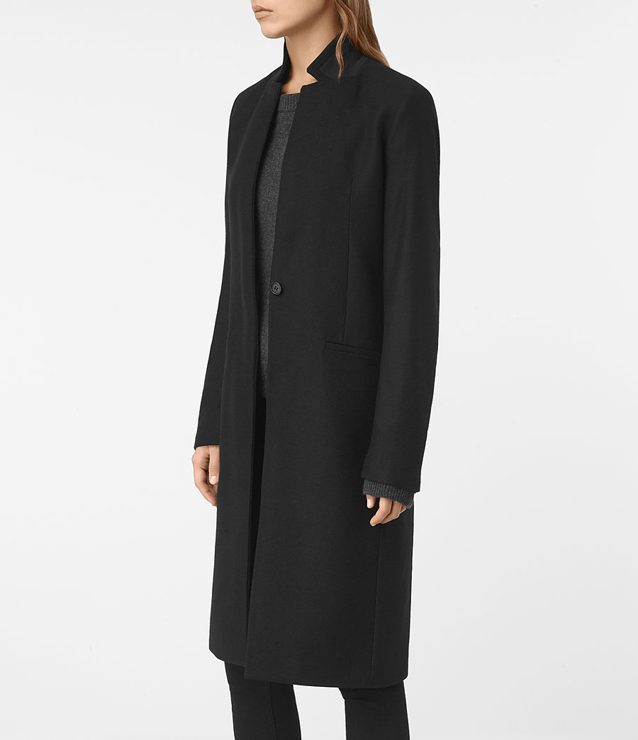 Womens Nehru Coat (black) - Image 2