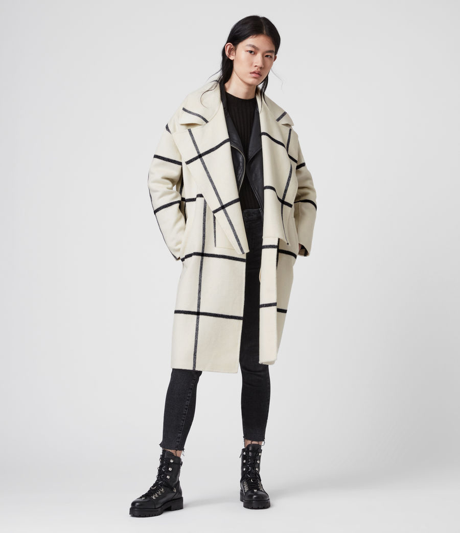 Womens Ryder Check Coat (black_ecru_white) - Image 1