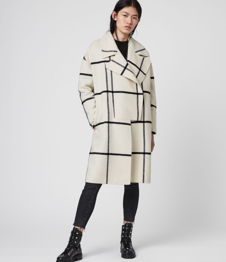Women's Ryder Check Coat (black_ecru_white) - Image 2