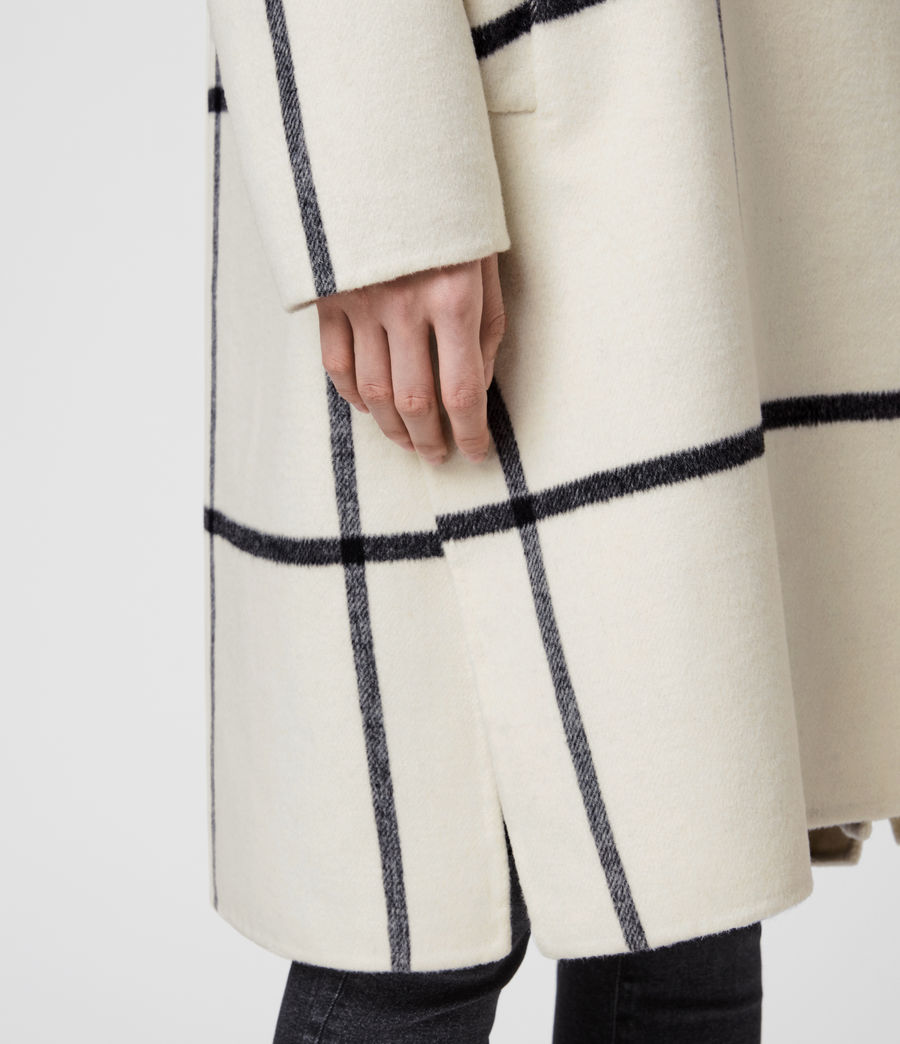Women's Ryder Check Coat (black_ecru_white) - Image 3