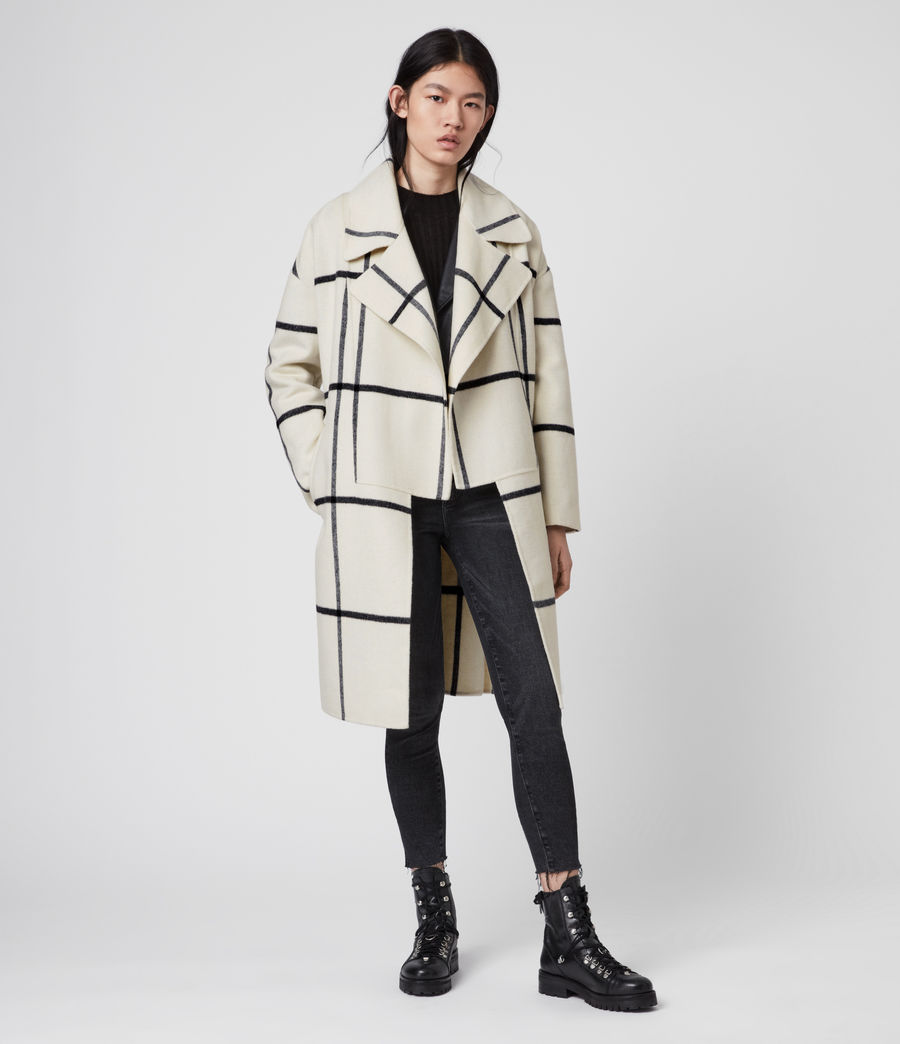 Womens Ryder Check Coat (black_ecru_white) - Image 5