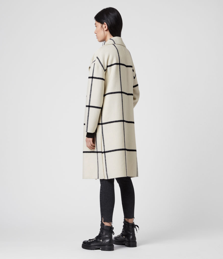 Womens Ryder Check Coat (black_ecru_white) - Image 6