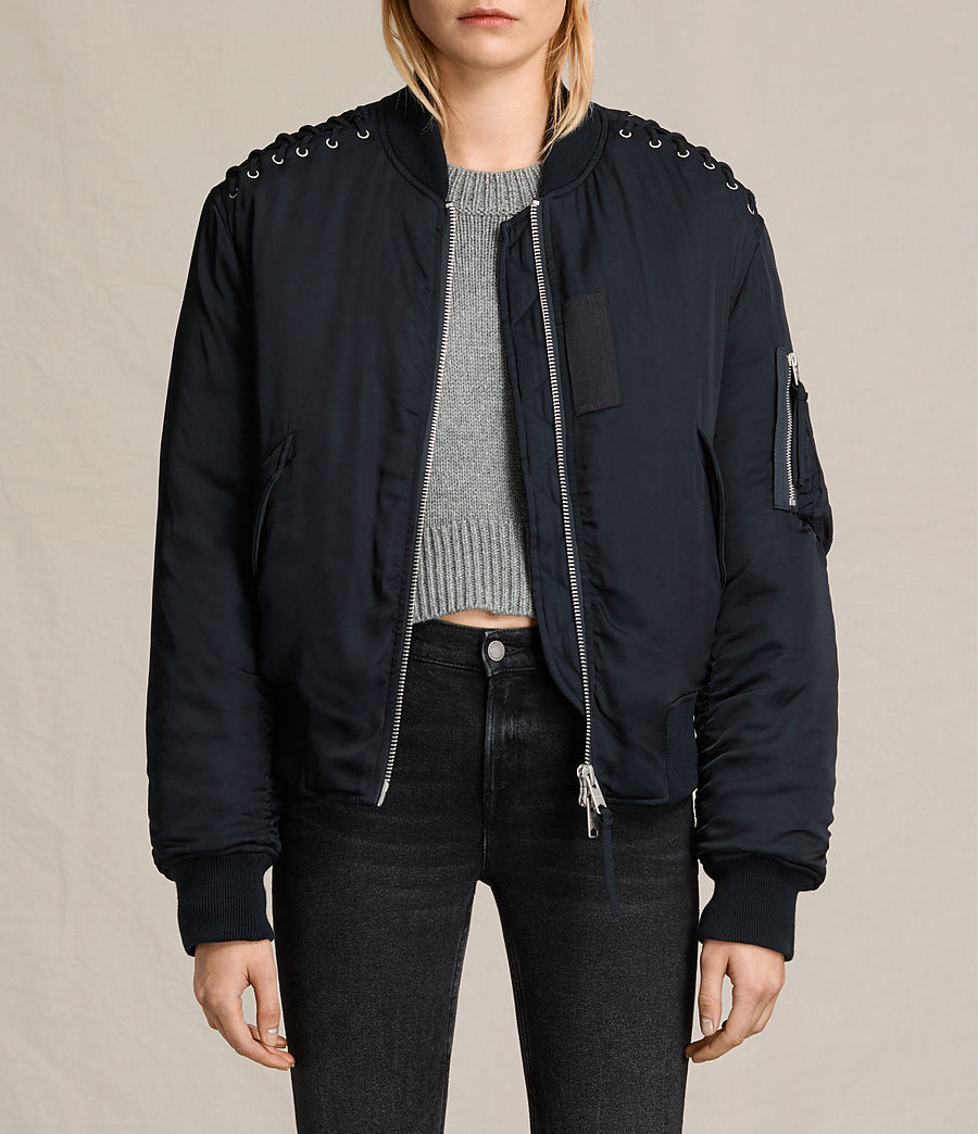 Women's Bree Laced Bomber Jacket (ink_blue) - Image 1