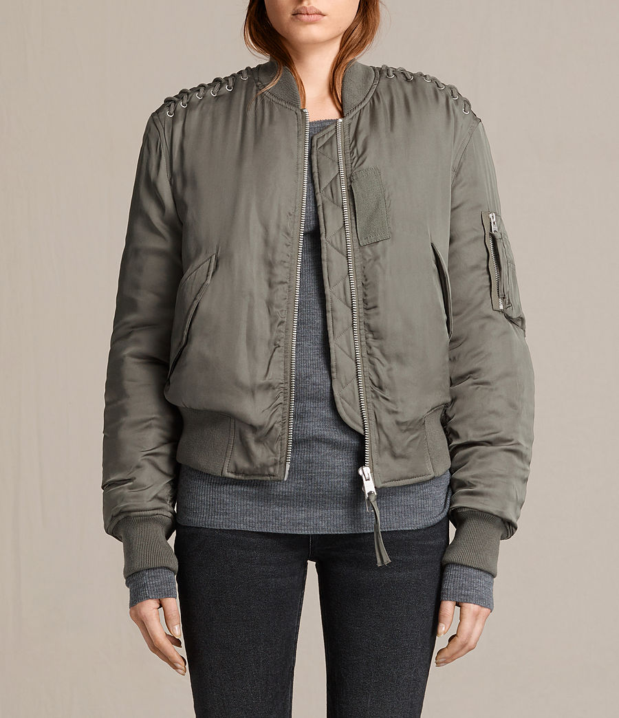 Donne Bree Laced Bomber Jacket (dark_sage_green) - Image 1