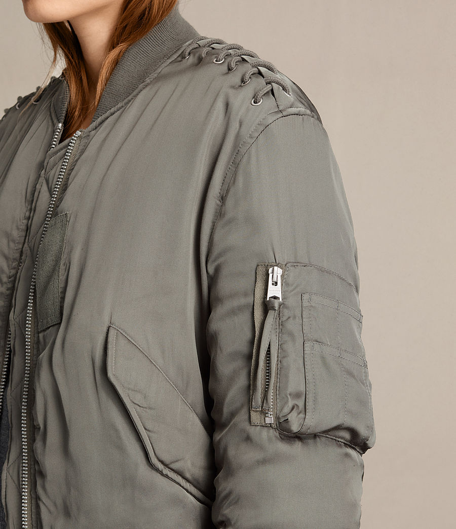 Women's Bree Laced Bomber Jacket (dark_sage_green) - Image 2