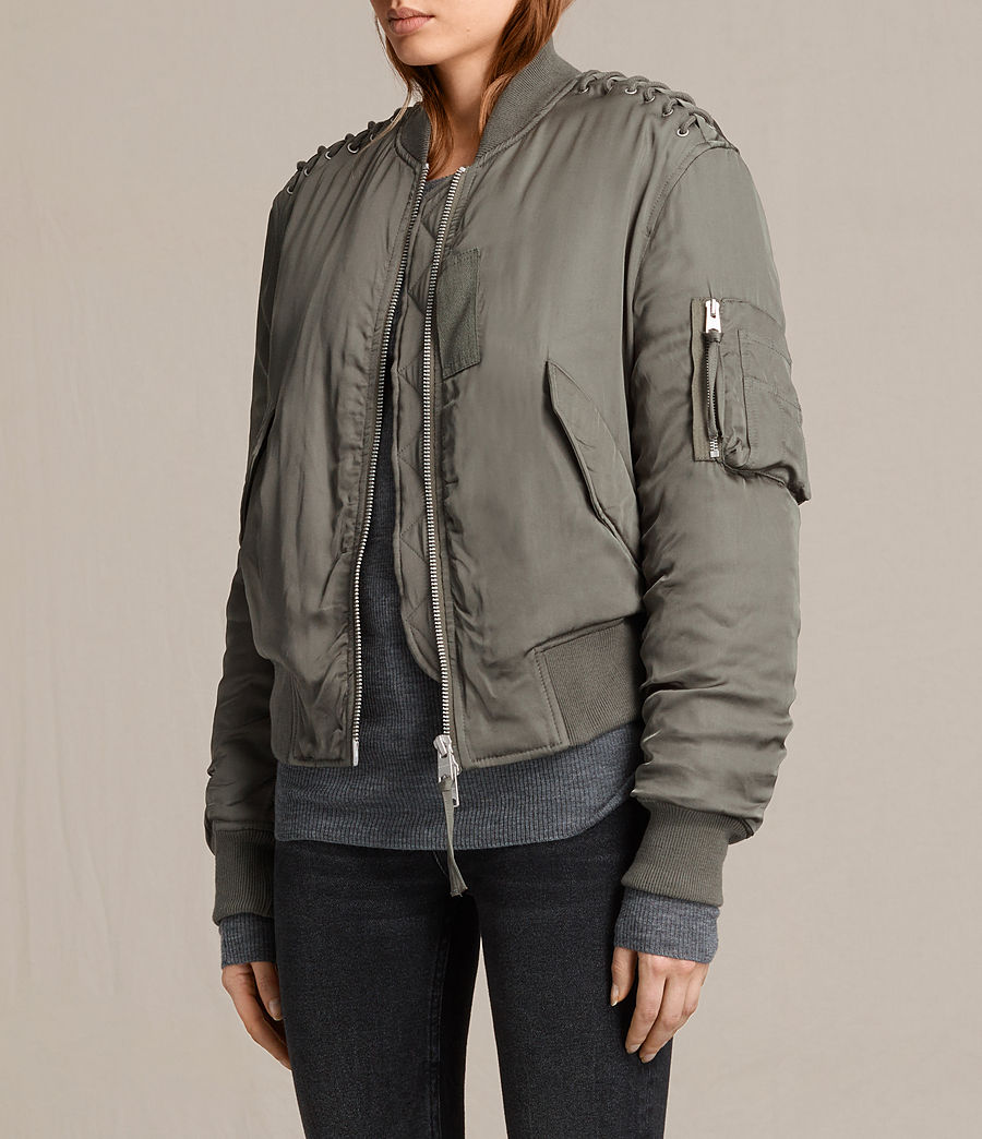 Women's Bree Laced Bomber Jacket (dark_sage_green) - Image 3