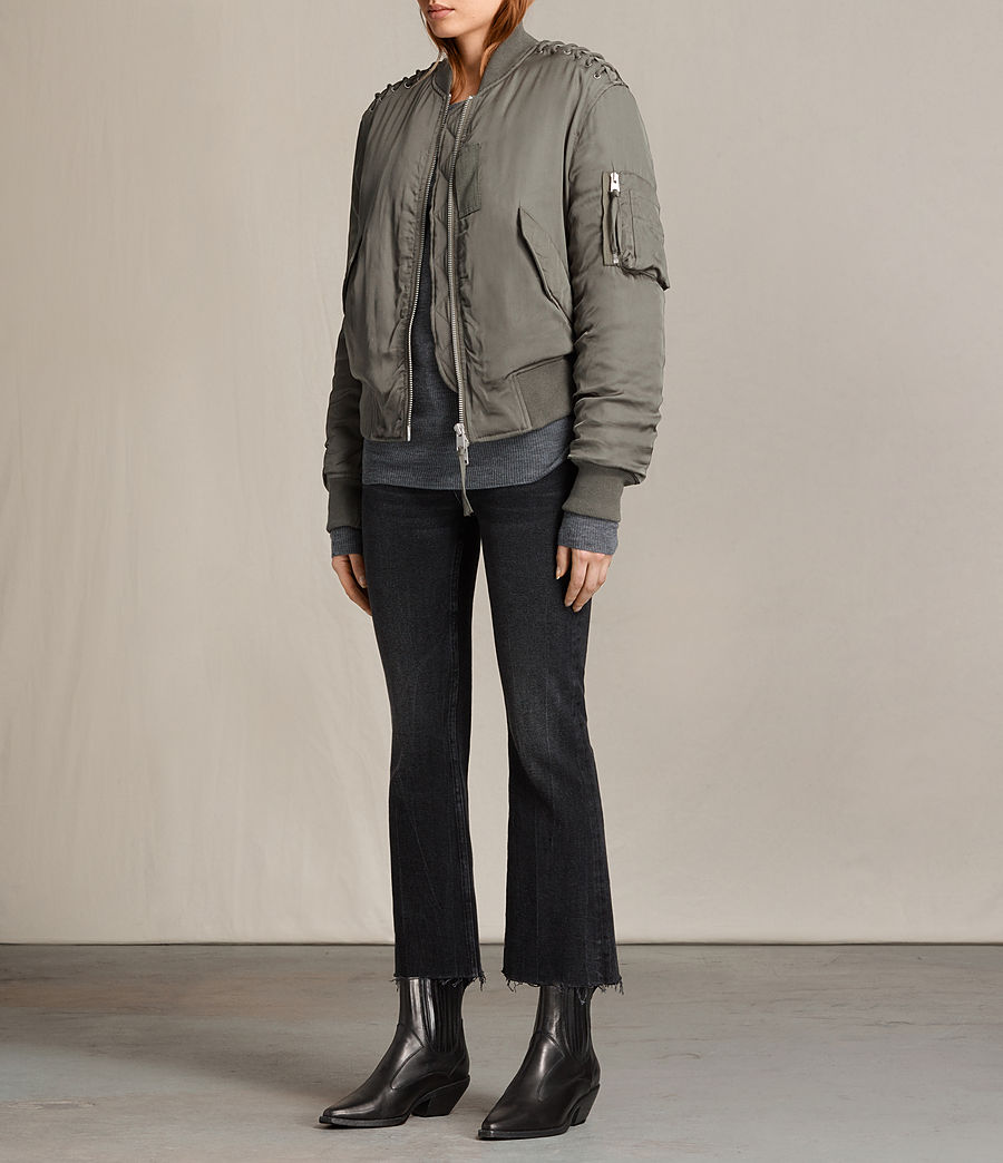 Women's Bree Laced Bomber Jacket (dark_sage_green) - Image 4