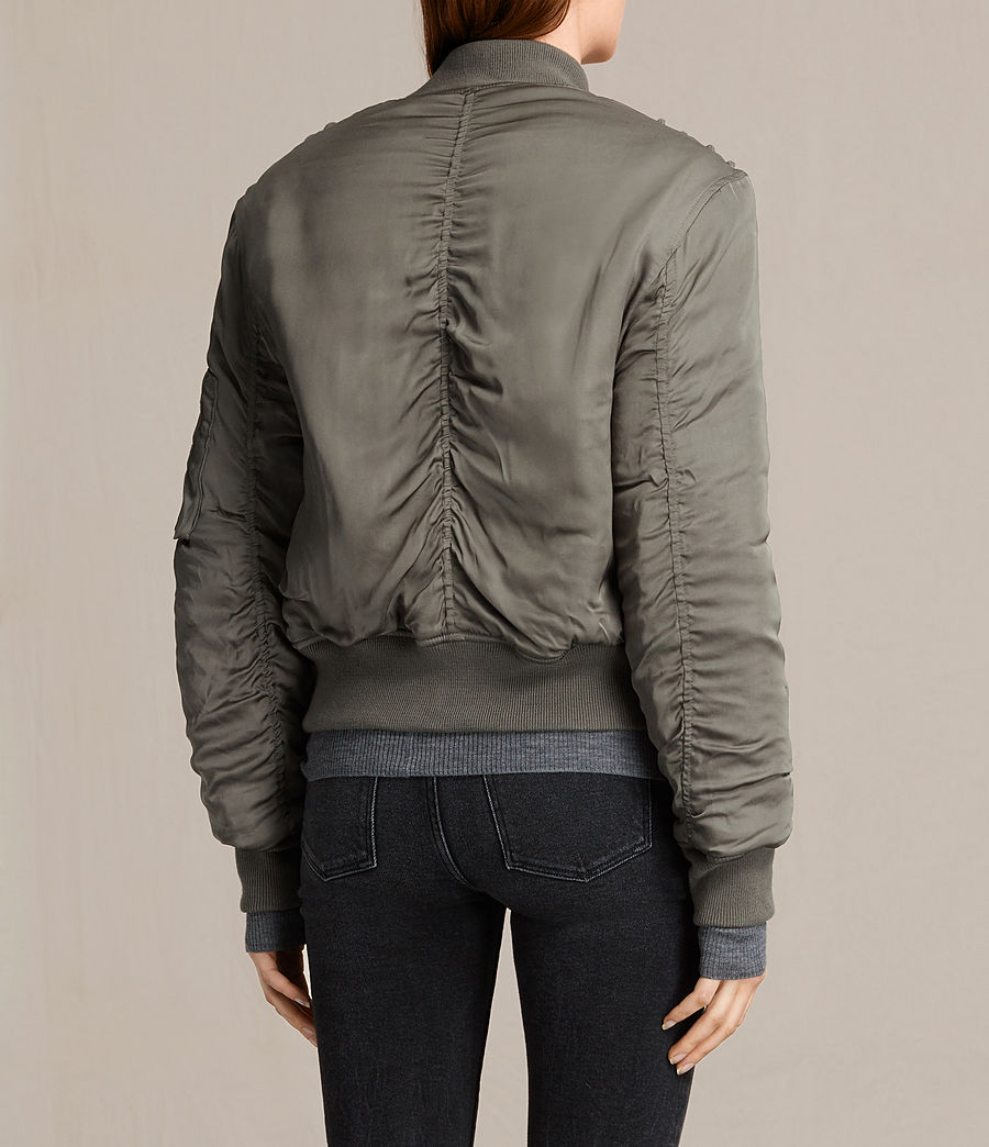 Women's Bree Laced Bomber Jacket (dark_sage_green) - Image 5