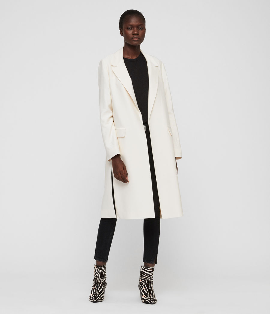 Womens Aleida Duster Coat (ecru_white) - Image 1