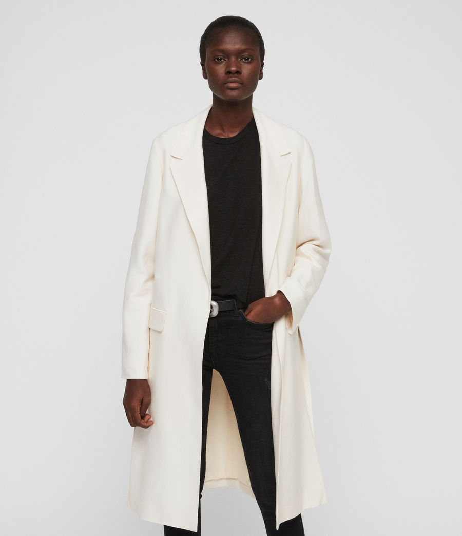 Womens Aleida Duster Coat (ecru_white) - Image 2