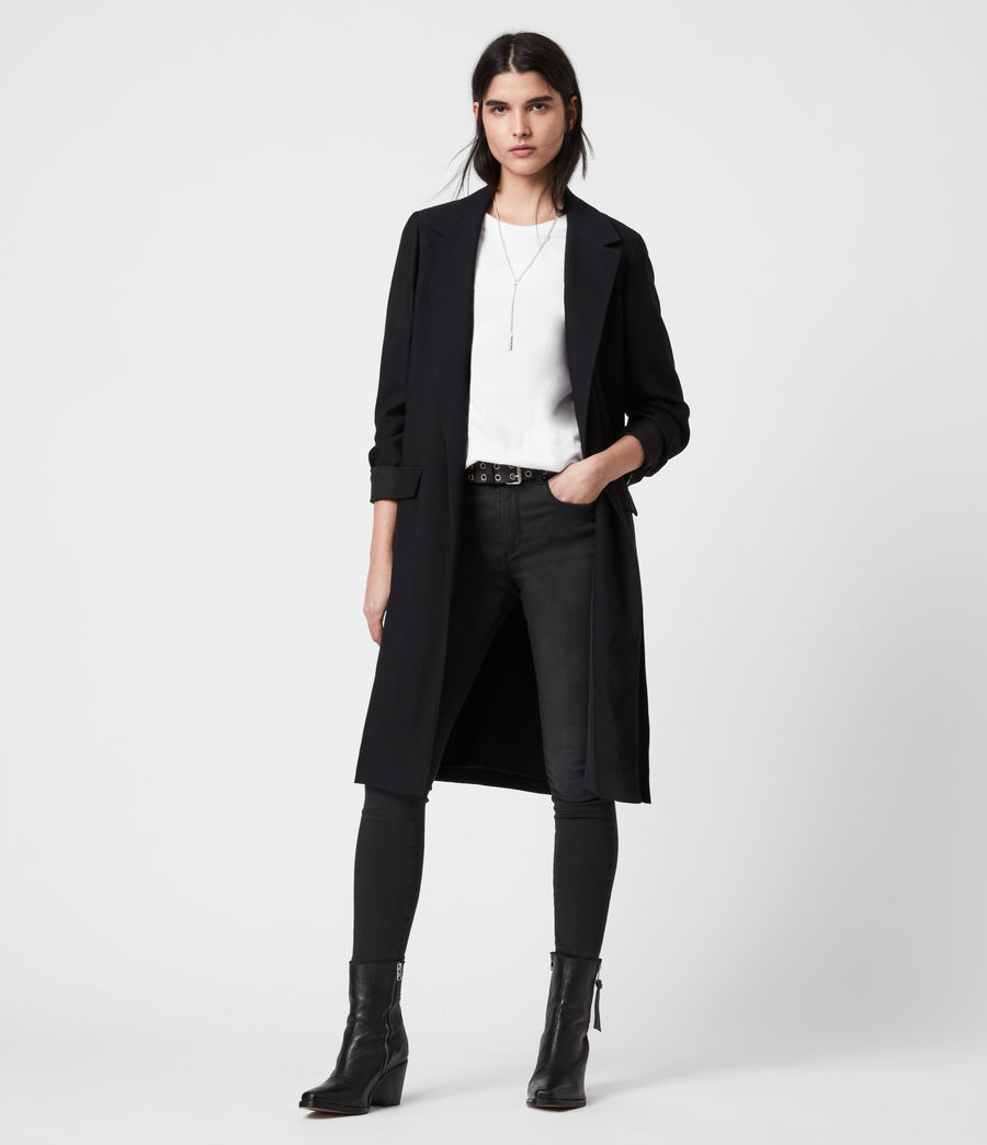 Women's Aleida Duster Coat (black) - Image 7
