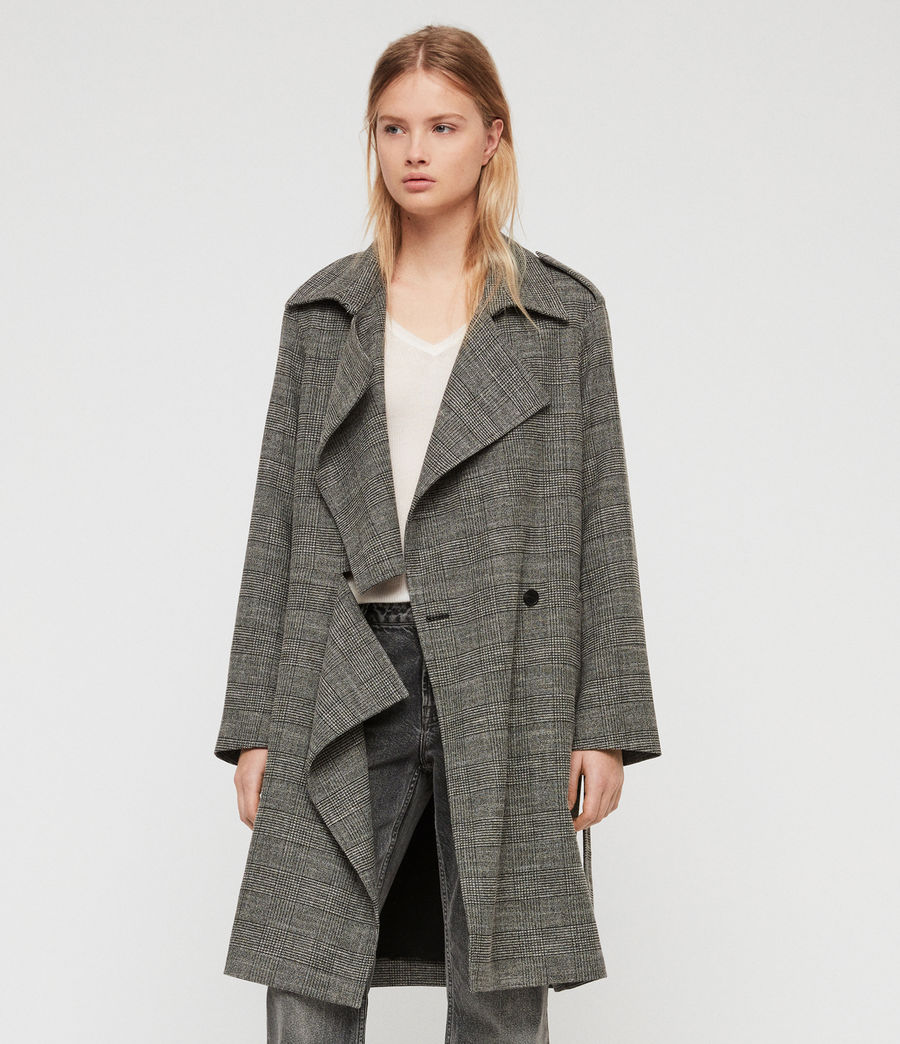 Womens Bexley Check Trench Coat (black_white) - Image 2