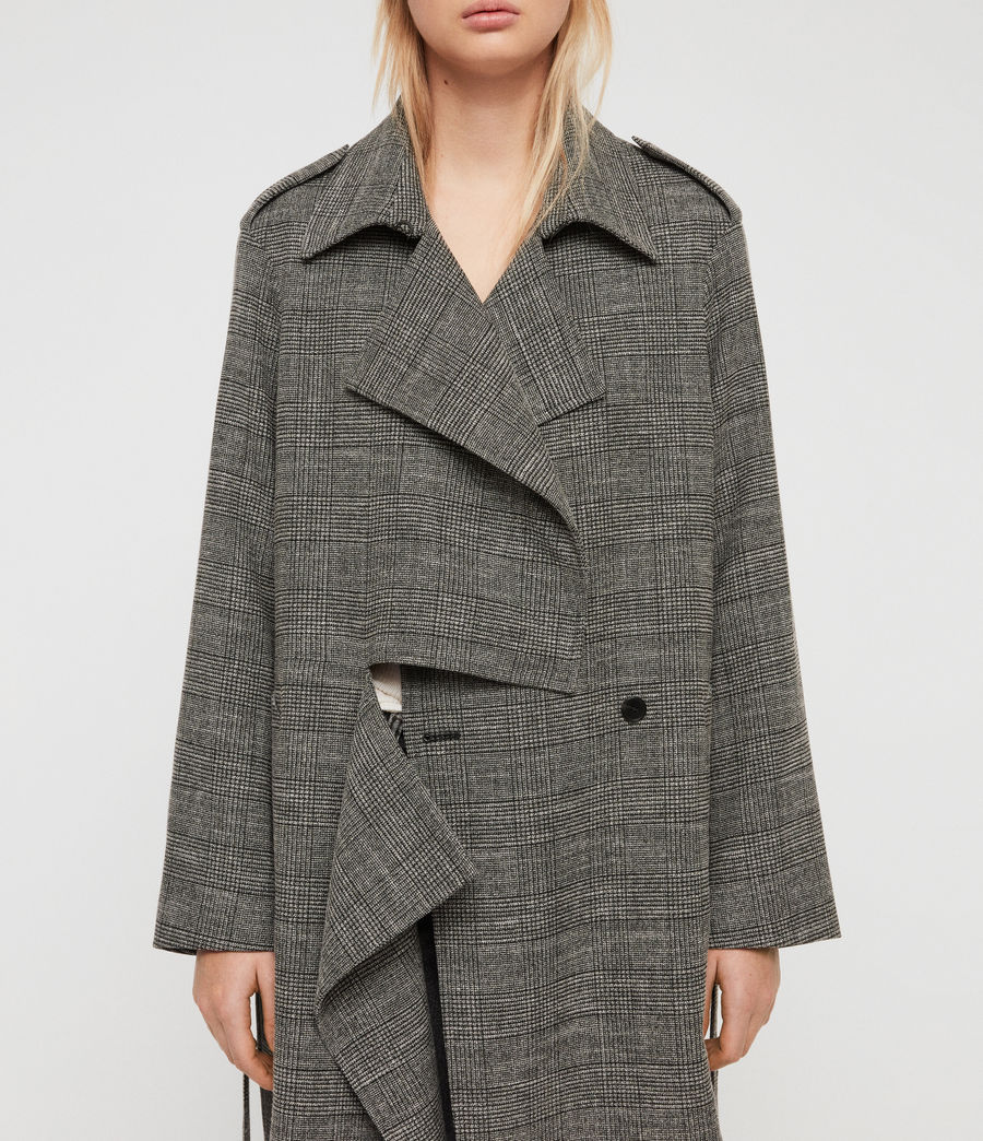 Womens Bexley Check Trench Coat (black_white) - Image 4