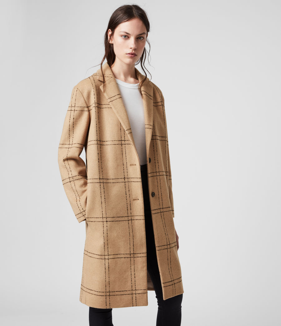 Womens Anya Check Coat (camel_black) - Image 1