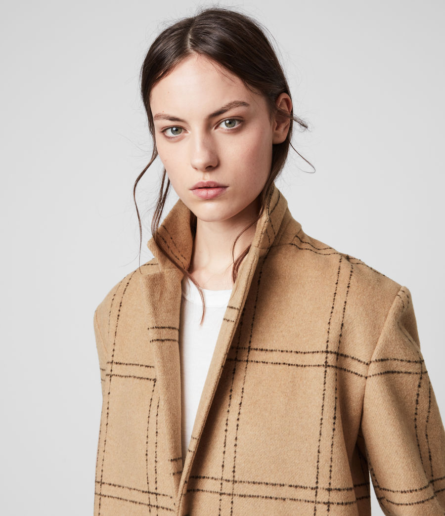 Womens Anya Check Coat (camel_black) - Image 2