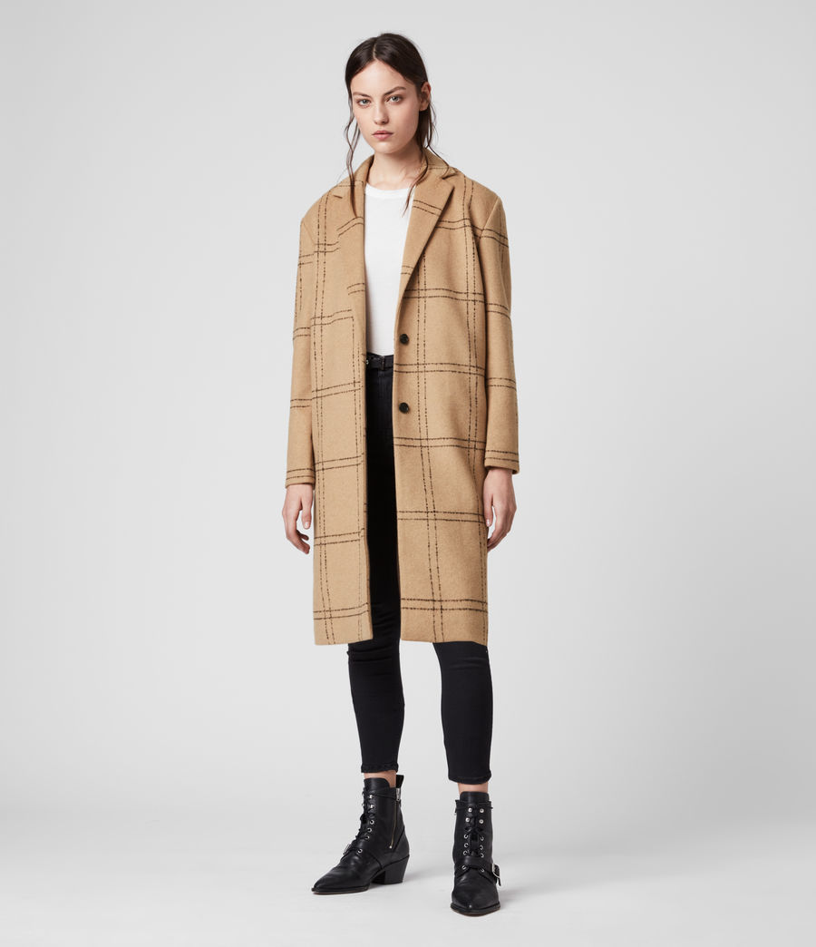 Womens Anya Check Coat (camel_black) - Image 3
