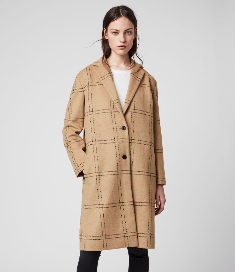 Womens Anya Check Coat (camel_black) - Image 4