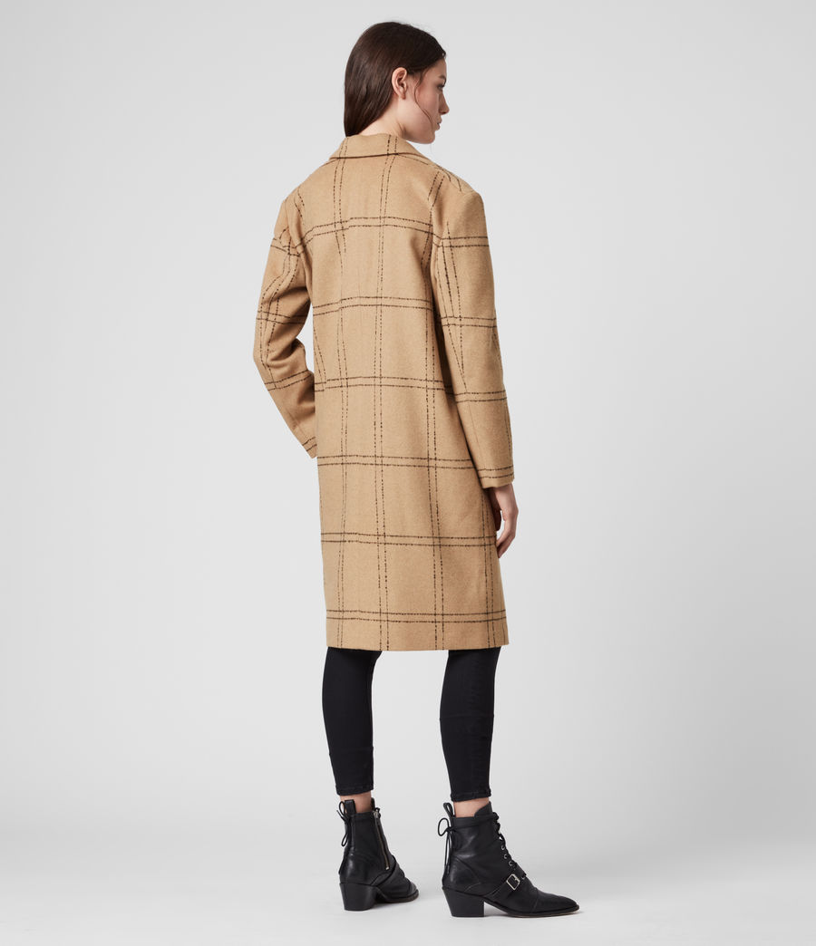 Womens Anya Check Coat (camel_black) - Image 5