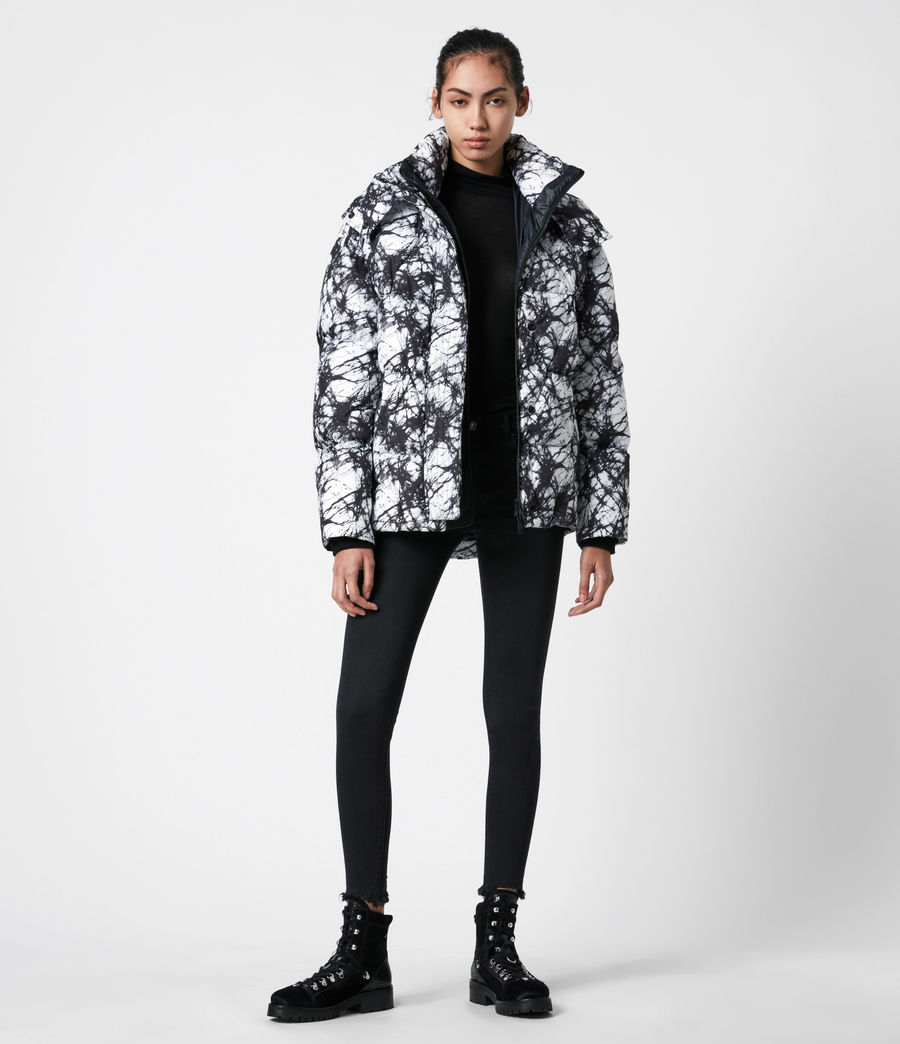 Womens Wren Tie Dye Puffer Coat (black_white) - Image 1