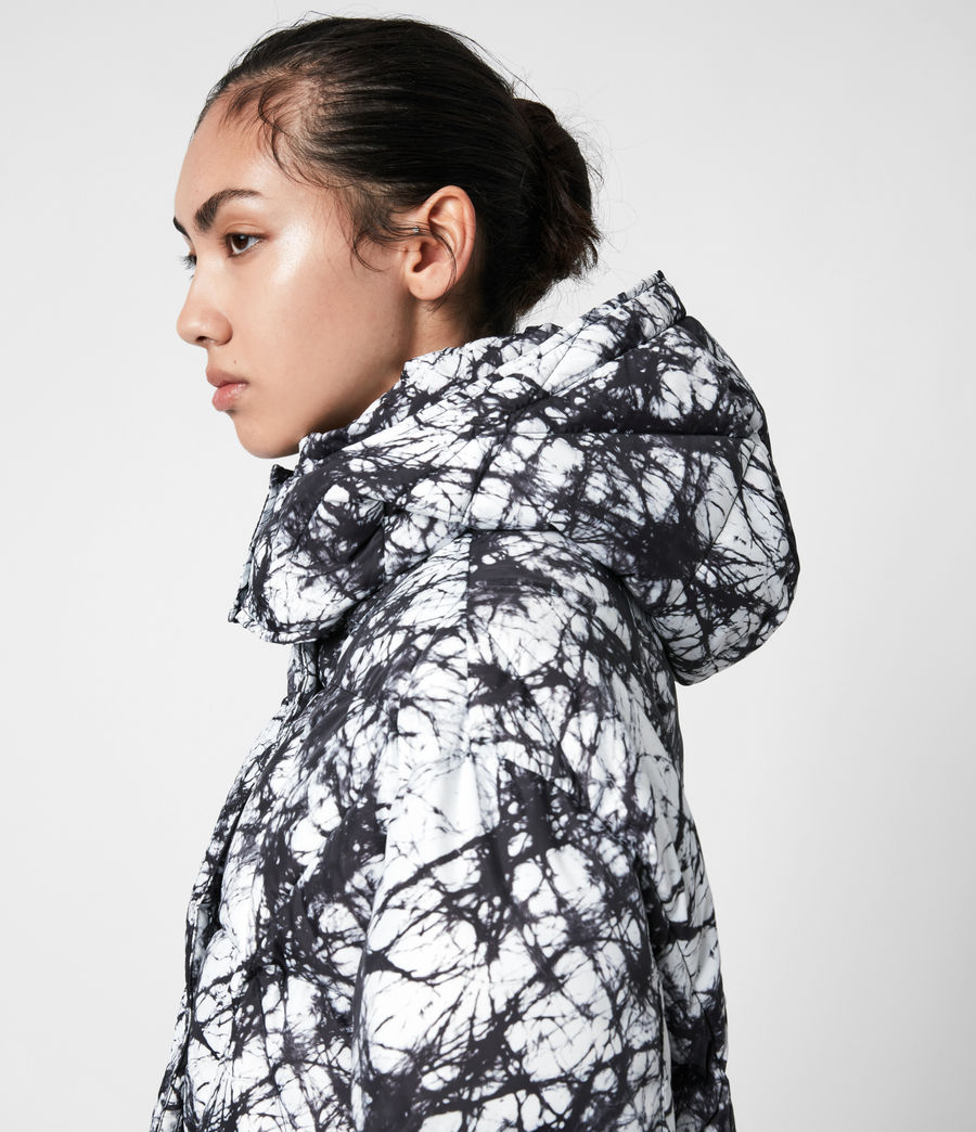 Womens Wren Tie Dye Puffer Coat (black_white) - Image 4