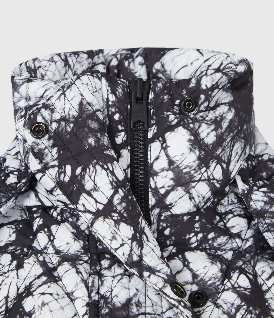 Womens Wren Tie Dye Puffer Coat (black_white) - Image 6