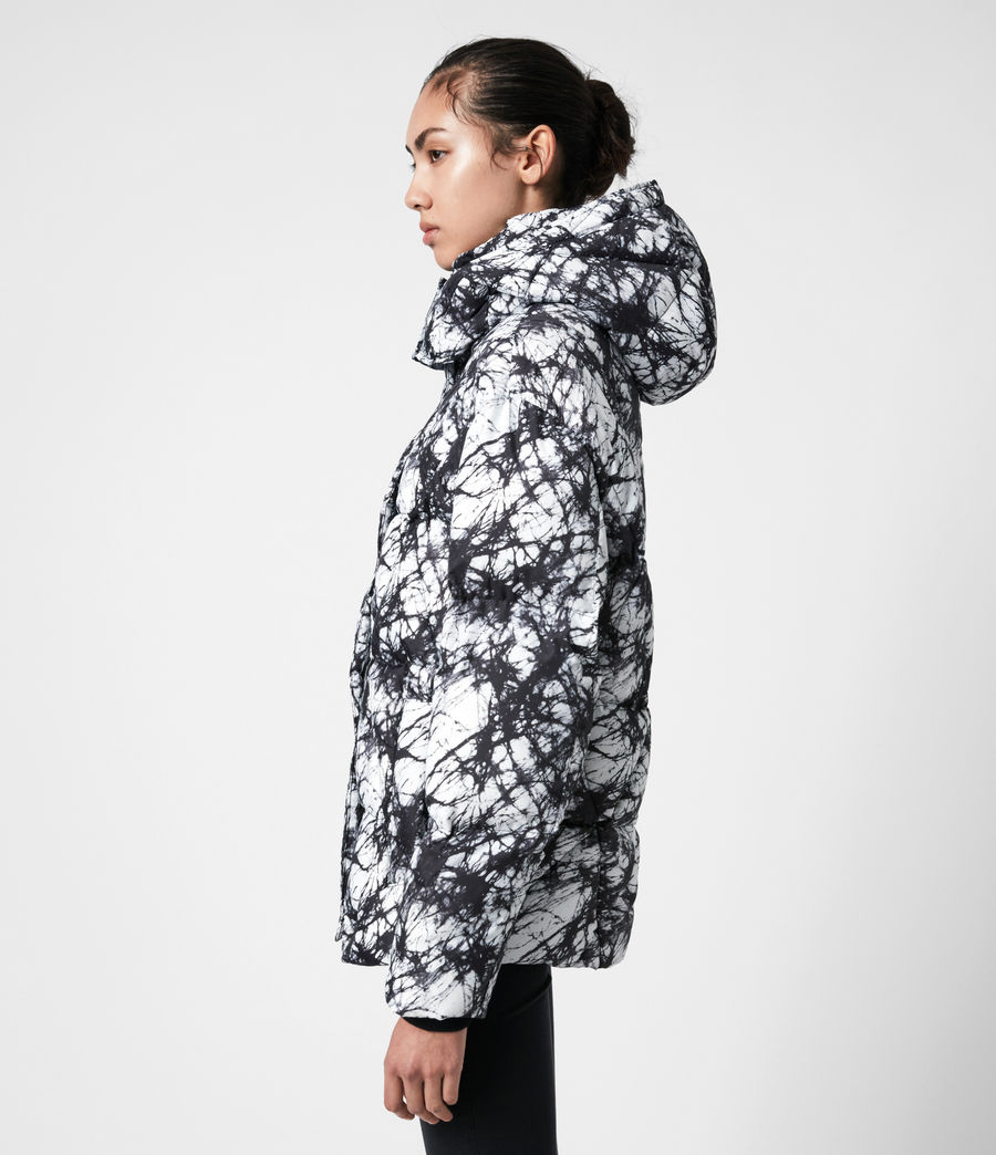 Womens Wren Tie Dye Puffer Coat (black_white) - Image 7